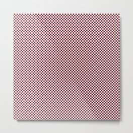 Deep Dark Red Pear and White Mini Check 2018 Color Trends Metal Print