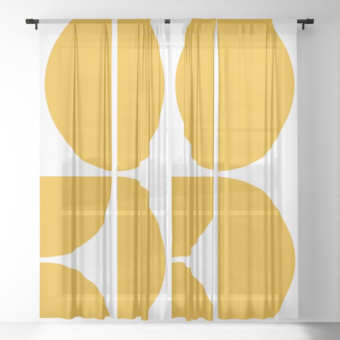 Mid Century Modern Yellow Square Sheer Curtain