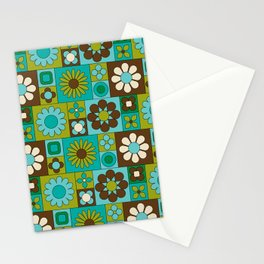 Mod Geometric Flower Pattern Stationery Cards