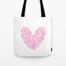Pink Polygon Heart Tote Bag