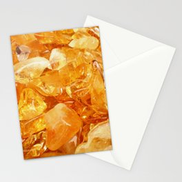 """Amber Quartz Solar Orange Crystal Opal Gem Stone"" Stationery Cards"