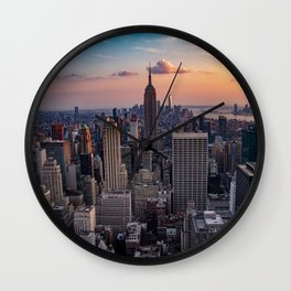 Beautiful Sunset Manhattan USA Wall Clock
