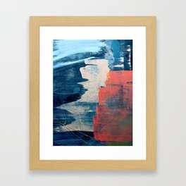 Deep Waters: a vibrant, minimal, abstract painting in pinks and blues by Alyssa Hamilton Art Framed Art Print