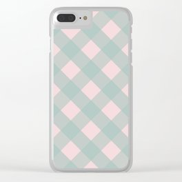 Pink & Mint Checkered Pattern-Mix and Match with Simplicity of Life Clear iPhone Case