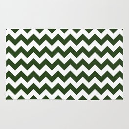 Large Dark Forest Green and White Chevron Stripe Pattern Rug