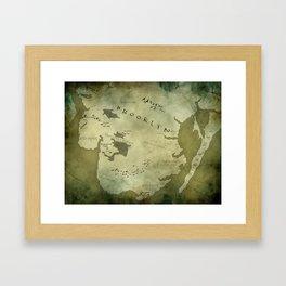 Fantasy Map of Brooklyn: Green Parchment Framed Art Print