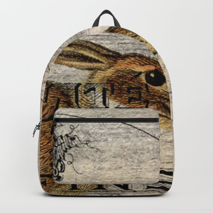 vintage typography fall harvest autumn woodland french hare rabbit Backpack