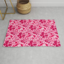 William Morris Iris and Lily, Fuchsia Pink and Burgundy Rug