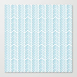 Hand painted blue watercolor aztec chevron geometrical Canvas Print