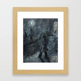 Trudging in the Rain Framed Art Print
