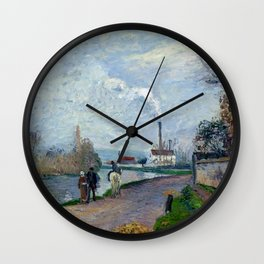 "Camille Pissarro ""The Oise near Pontoise in Grey Weather"" Wall Clock"