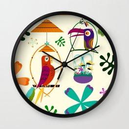Vintage Modern Tiki Birds Wall Clock