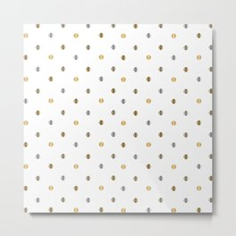 Silver and Gold Polka Dot Design Metal Print