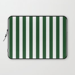 Large Forest Green and White Rustic Vertical Beach Stripes Laptop Sleeve