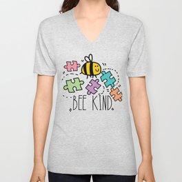 Bee Kind Autism Awareness Autism Superhero Unisex V-Neck