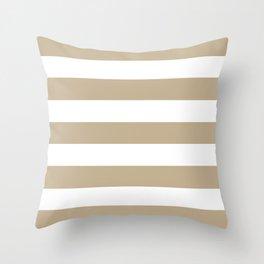 Khaki (HTML/CSS) (Khaki) - solid color - white stripes pattern Throw Pillow