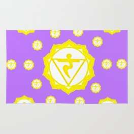 "ASTRAL VIOLET YELLOW SANSKRIT CHAKRAS  PSYCHIC WHEEL ""STRIVE"" Rug"