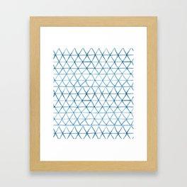 Indigo Geo Triangle Pattern Framed Art Print