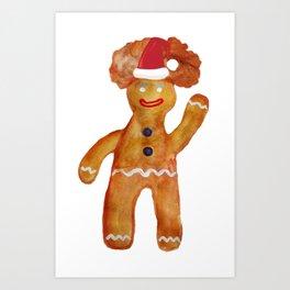 Santa Gingerbread Man Art Print