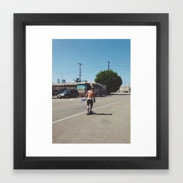 Skateboarder in Los Angeles Framed Art Print