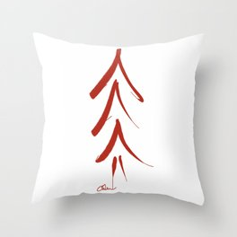 Mod Christmas Tree in Red DP150906a Throw Pillow