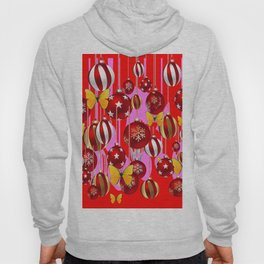 DECORATIVE RED CHRISTMAS ORNAMENT & YELLOW BUTTERFLIES Hoody