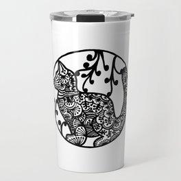 Boho Cat Illustration Black and White Paisley Travel Mug