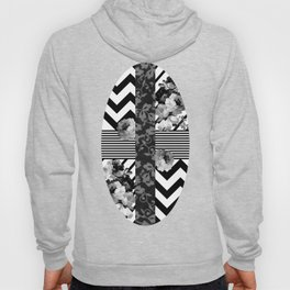 Trendy Black and White Floral Lace Stripes Chevron Hoody