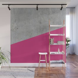 Concrete and Pink Yarrow Color Wall Mural