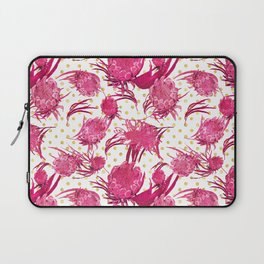 Pink and Gold Australian Native Floral Pattern - Protea, Grevillea and Eucalyptus Laptop Sleeve