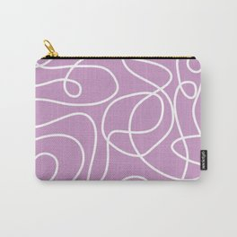 Doodle Line Art | White Lines on Lavender Carry-All Pouch