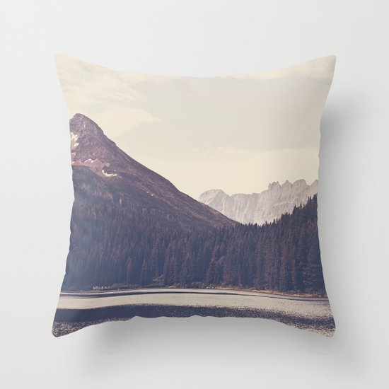 Morning Mountain Lake Throw Pillow