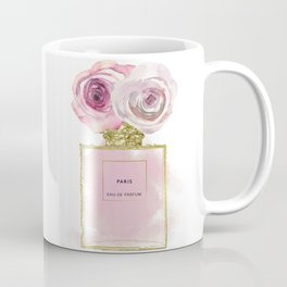 Pink & Gold Floral Fashion Perfume Bottle Coffee Mug