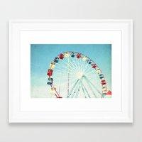 ferris wheel Framed Art Prints featuring Ferris Wheel by Mina Teslaru