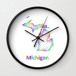 Rainbow Michigan map Wall Clock