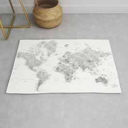 Marble world map in light grey and brown Rug