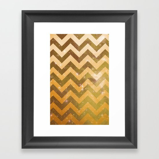 Golden Space Chevron Framed Art Print