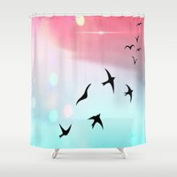 olivia joy Shower Curtains featuring Joy  by Geni