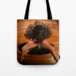 6171-KD Nude Art Model Sitting On Mirror Looking Down Tote Bag