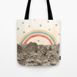 Canyon Desert Rainbow // Sierra Nevada Cactus Mountain Range Whimsical Painted Happy Stars Tote Bag