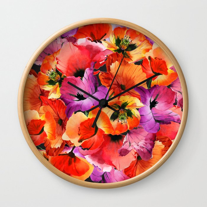 Poppies for Fun Wall Clock