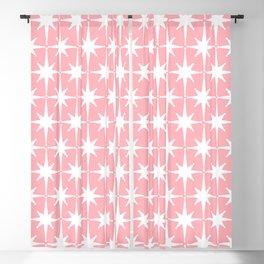 Midcentury Modern Atomic Age Starburst Pattern in White and Pink Blackout Curtain