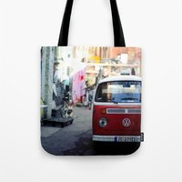 vw Tote Bags featuring Vw T1 by Nechifor Ionut