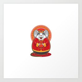 Gong Xi Fa Cai Big Fat Mouse Holding Red Envelope Art Print