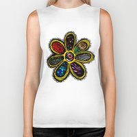 hippy Biker Tanks featuring Patchwork Hippy Flower by Silvio Ledbetter