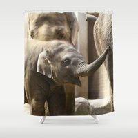 baby elephant Shower Curtains featuring Baby Elephant by Päivi Vikström