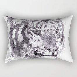 Tiger pencil rough sketch Rectangular Pillow