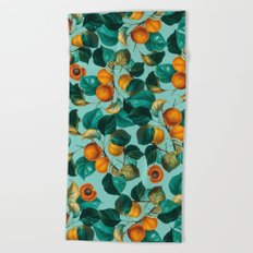 Peach and Leaf Pattern Beach Towel