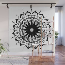 Original Mandala- black and white hand drawn with ink Wall Mural