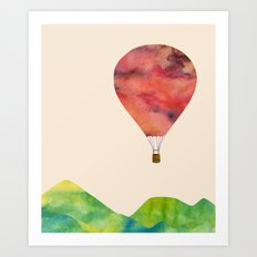 Sunset balloon Art Print